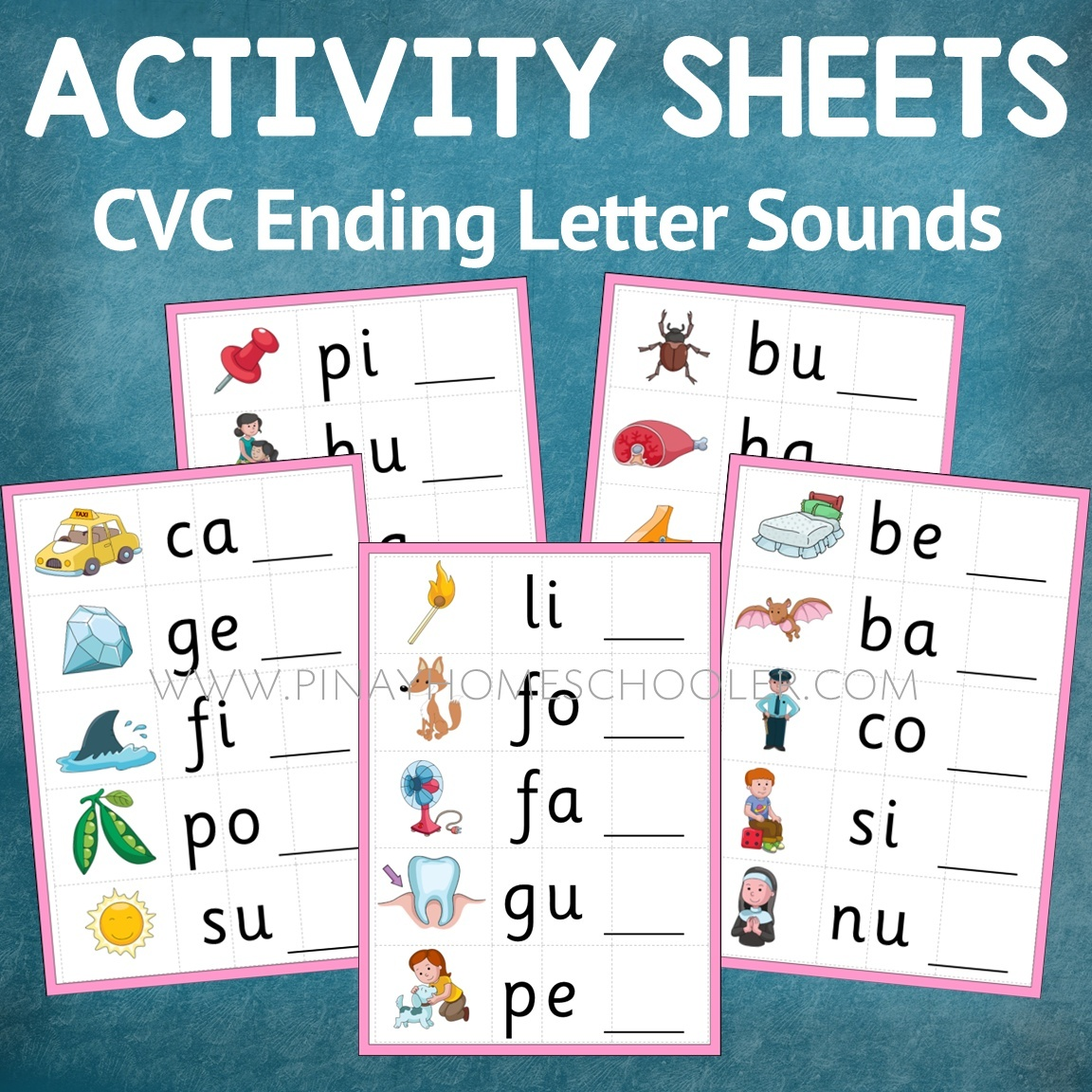 Montessori Language Ending Letter Sound Activity Sheets