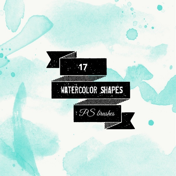 PS brushes: watercolor shapes and splatters