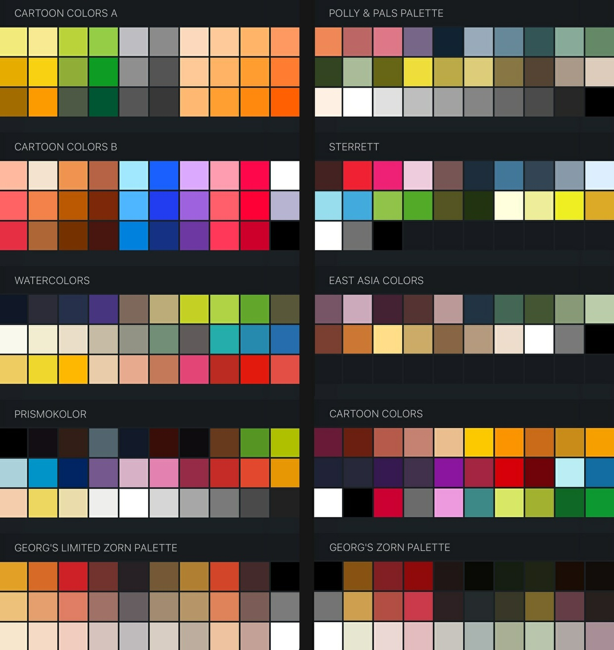 free procreate color swatches 37 palettes for painting and drawing - Color For Free