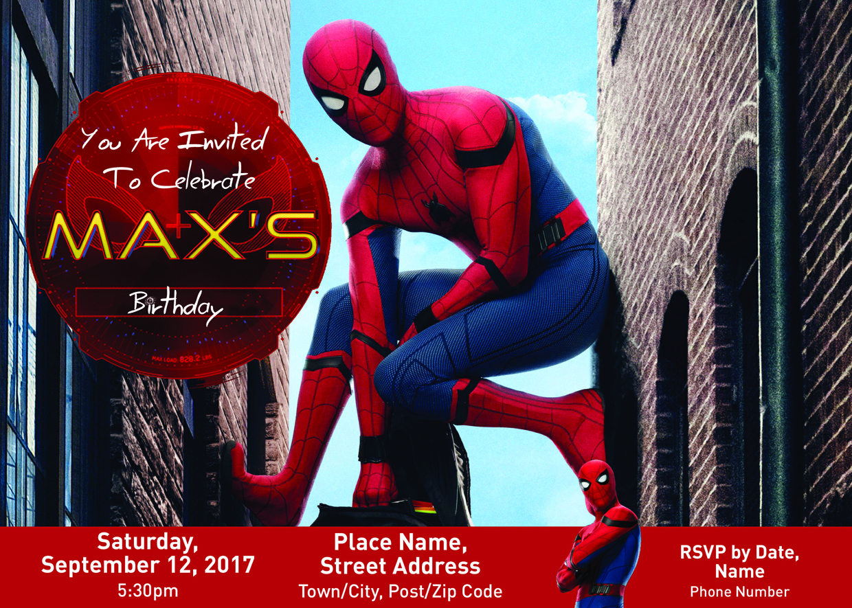 Spider-Man Homecoming Customization Party Invitations.