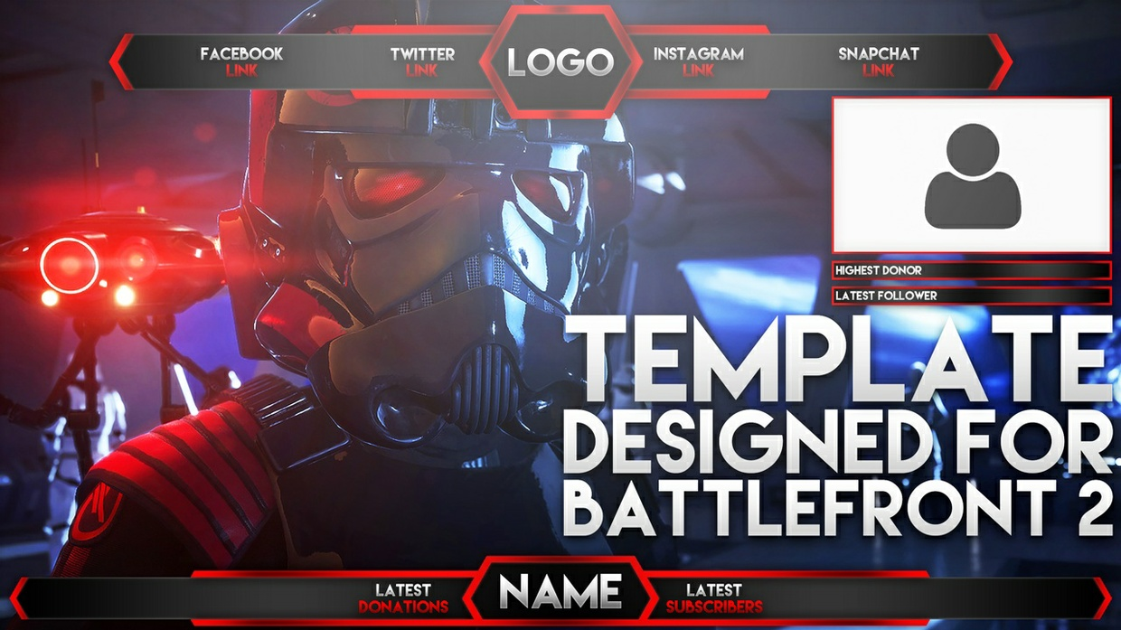 Live Stream Overlay Template Pack - Star Wars Battlefront 2 - Photoshop Template - Volume 8