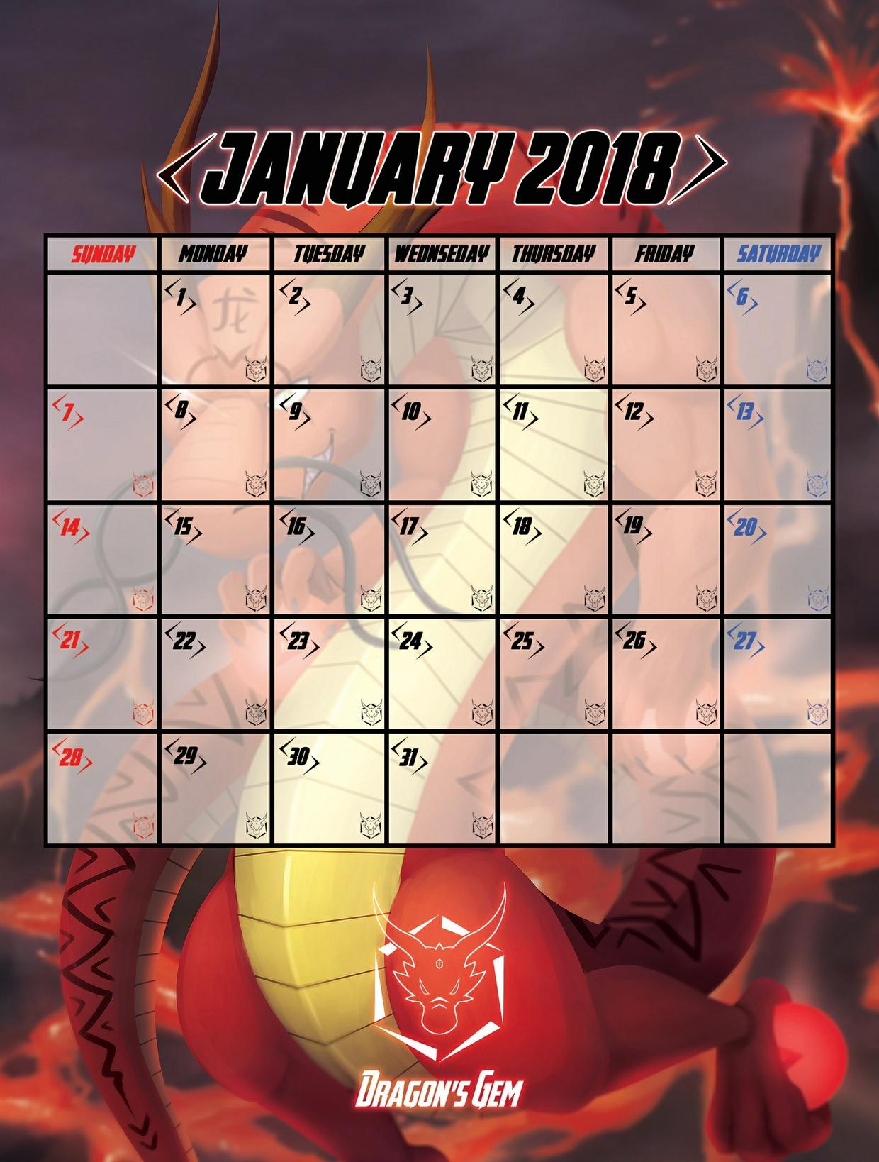 Calendar 2018 Artpack - Dragon's Gem [Digital files]