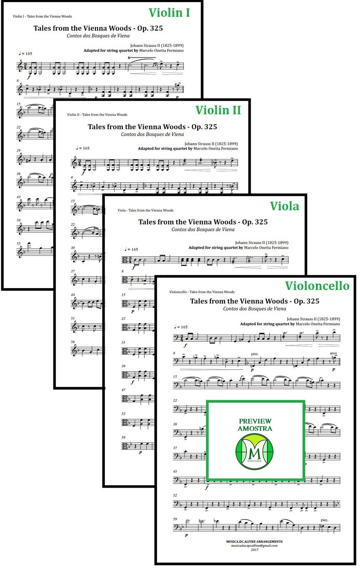 Contos dos Bosques de Viena | Strauss | Quarteto de Cordas | Partitura Completa