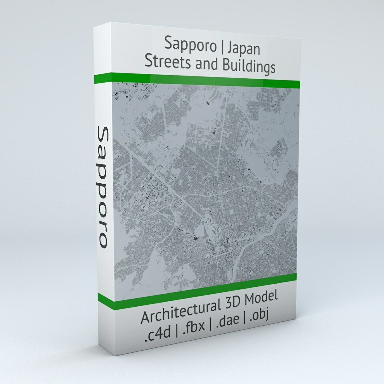 Sapporo Streets and Buildings Architectural 3D Model