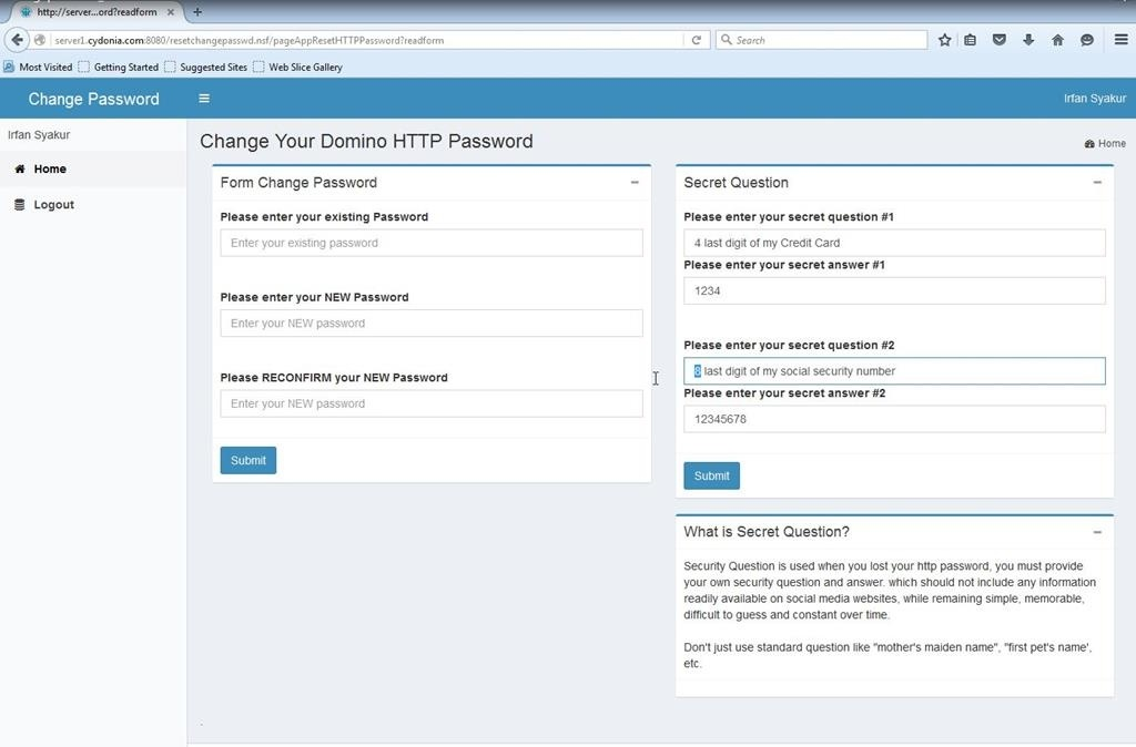 Domino Reset or Change Password Application ( 501 - 1000 users )