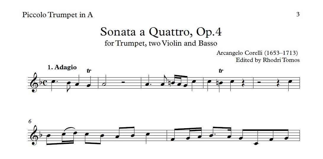Corelli Sonata a Quattro, Op.4. Sheet music play along.