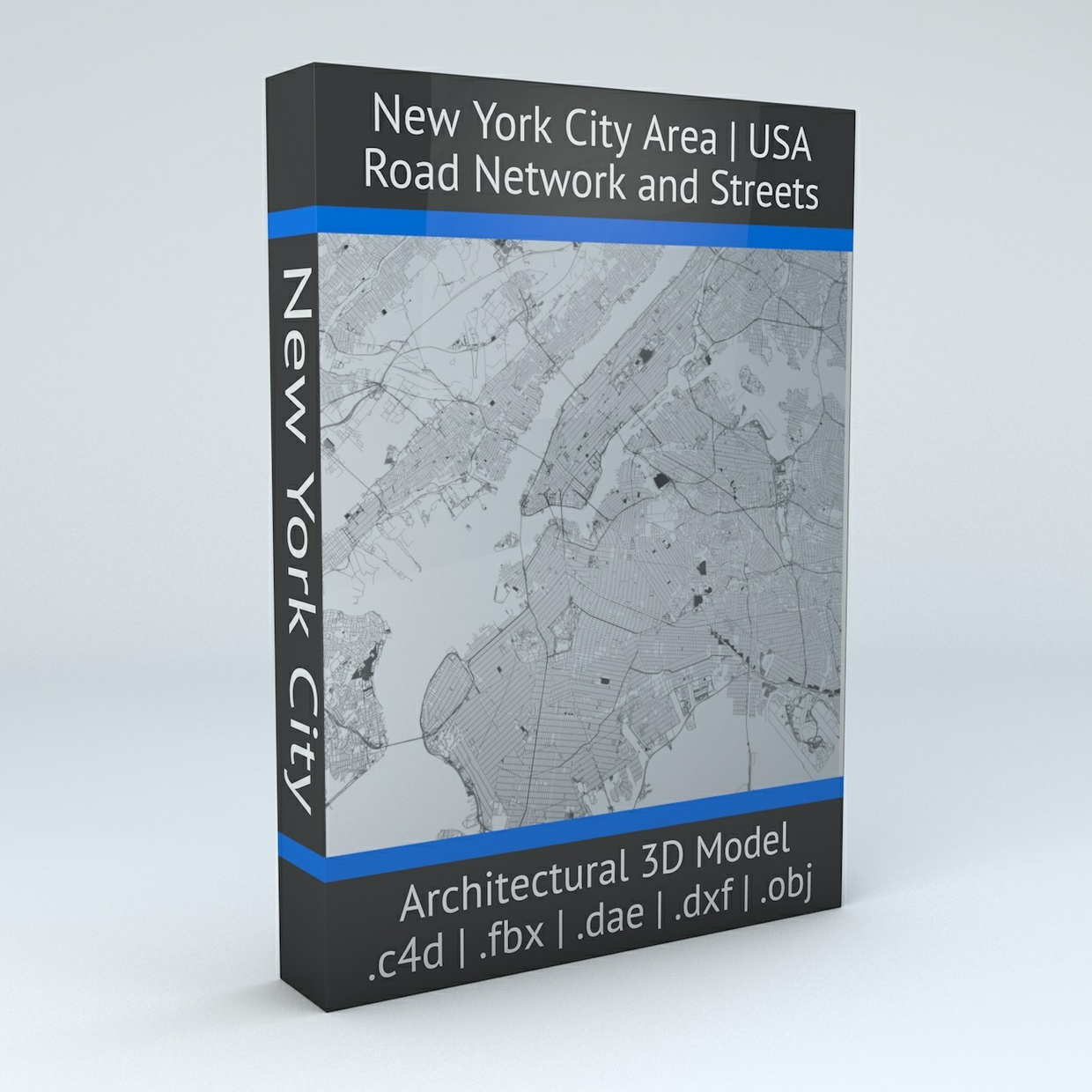 New York City 5 Boroughs Jersey City and Newark Road Network and Streets Architectural 3D Model