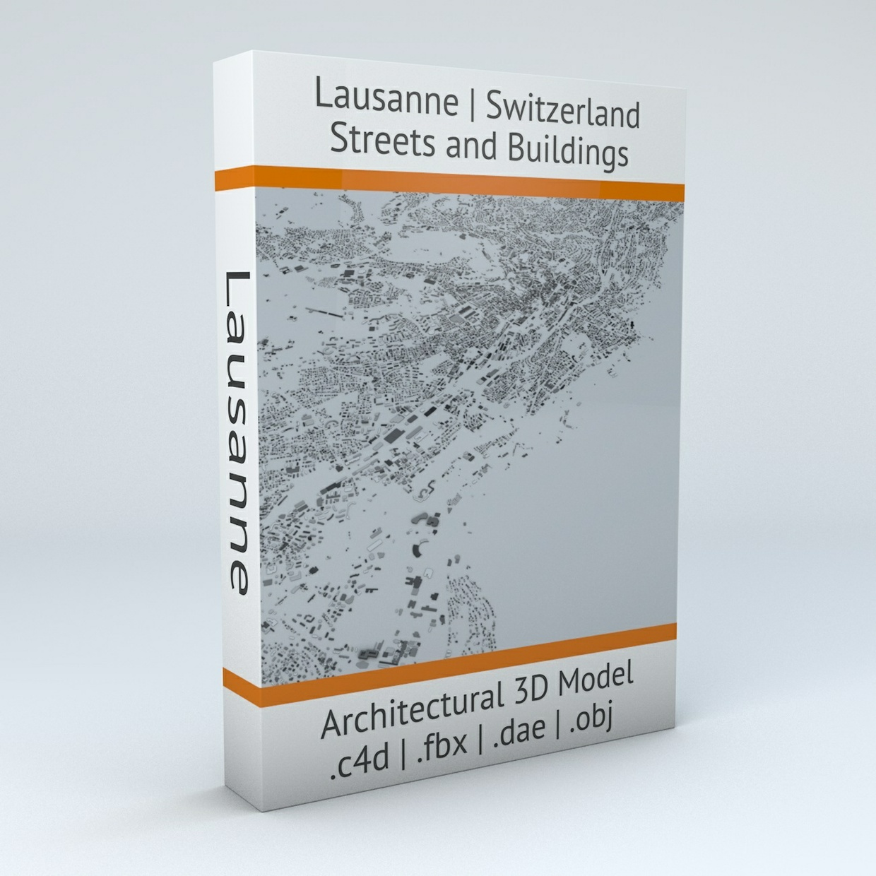 Lausanne Streets and Buildings Architectural 3D Model
