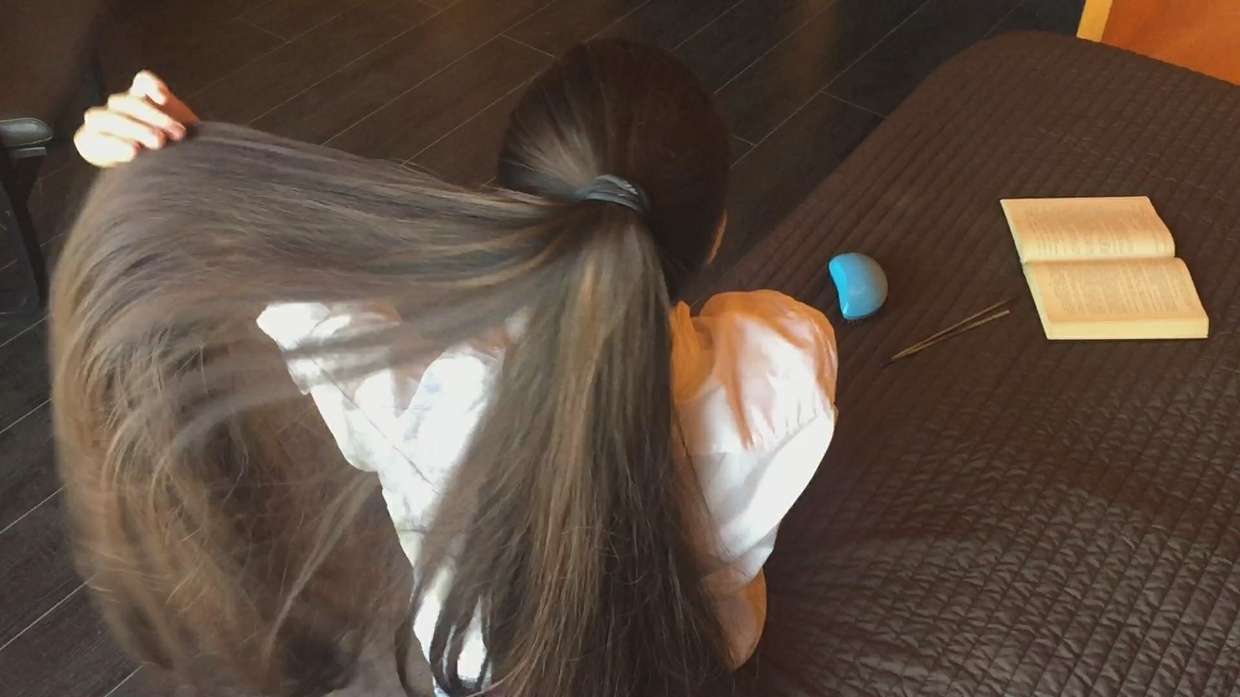 Super Thick Hair Play in Bed: Part. 2