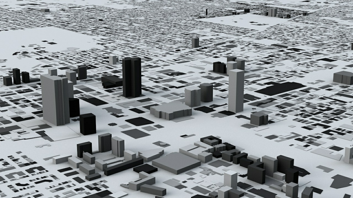 Montreal Streets and Buildings Architectural 3D Model