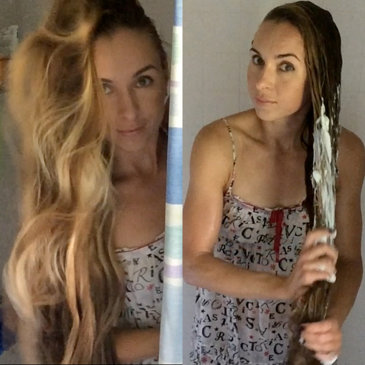 VIDEO - Knee length hair shower and wet hair play