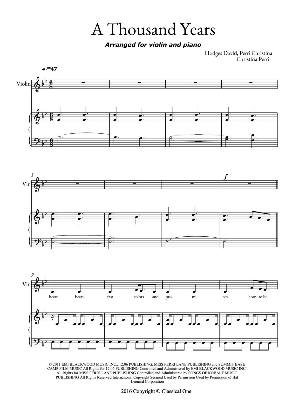 A thousand years sheet music