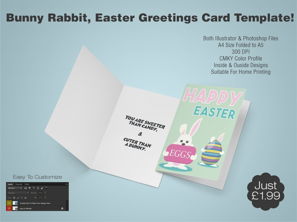 Bunny Rabbit, Easter Greetings Card Template 3 - (AI & PSD)