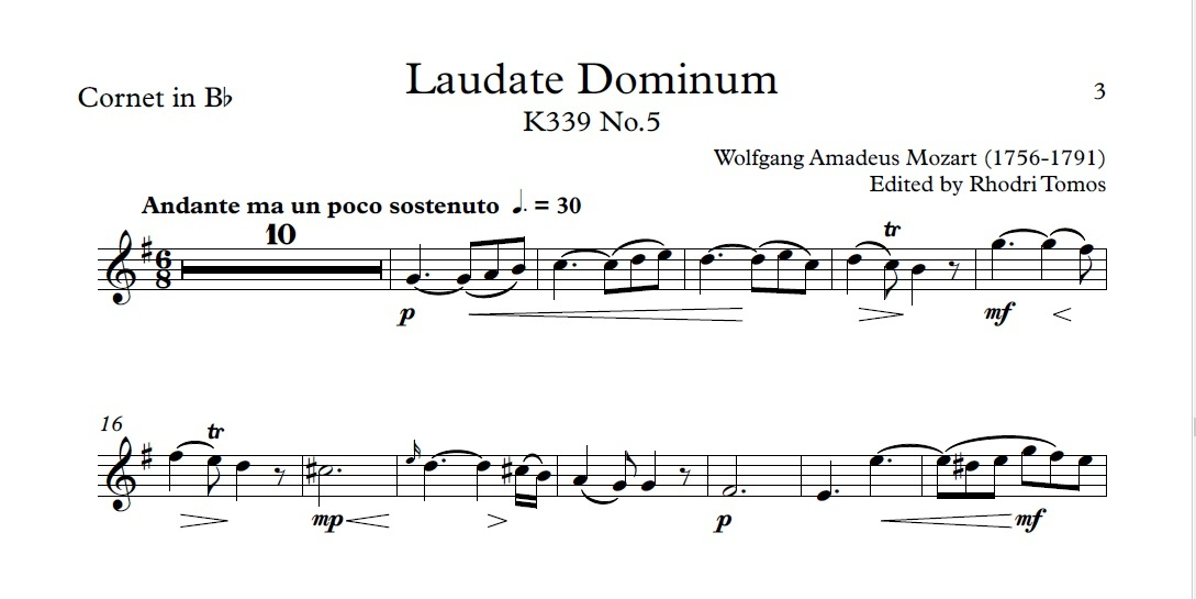 Mozart K339 Laudate Dominum. Play or sing along accompaniment mp3 track and cornet sheet music pdf