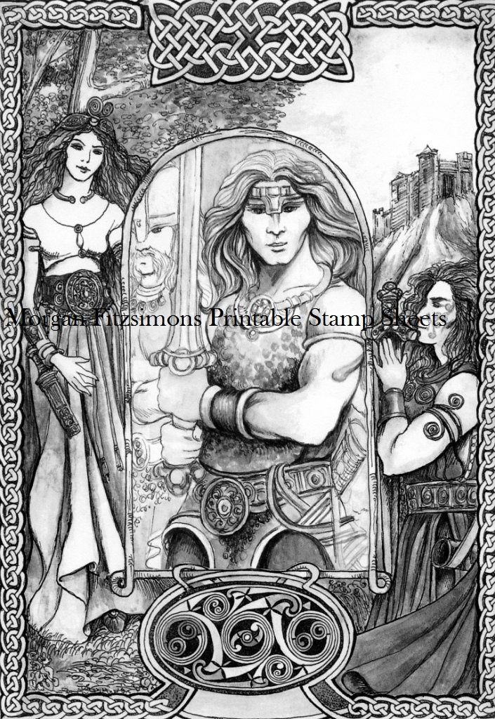 """Celtic Warrior"" PRINTABLE STAMP SHEET"