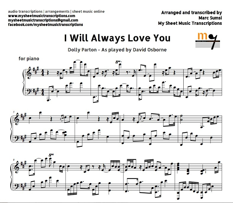 I Will Always Love You (Dolly Parton) Sheet music (.pd