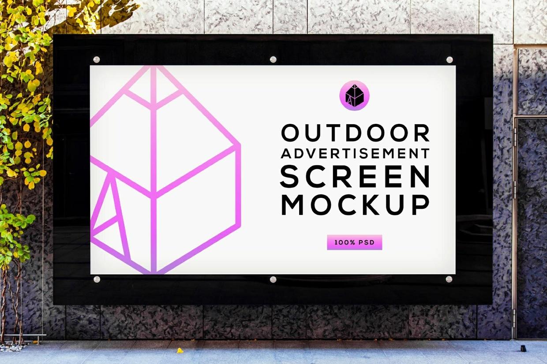 Free Outdoor Advertising Screen Mock-Up 4