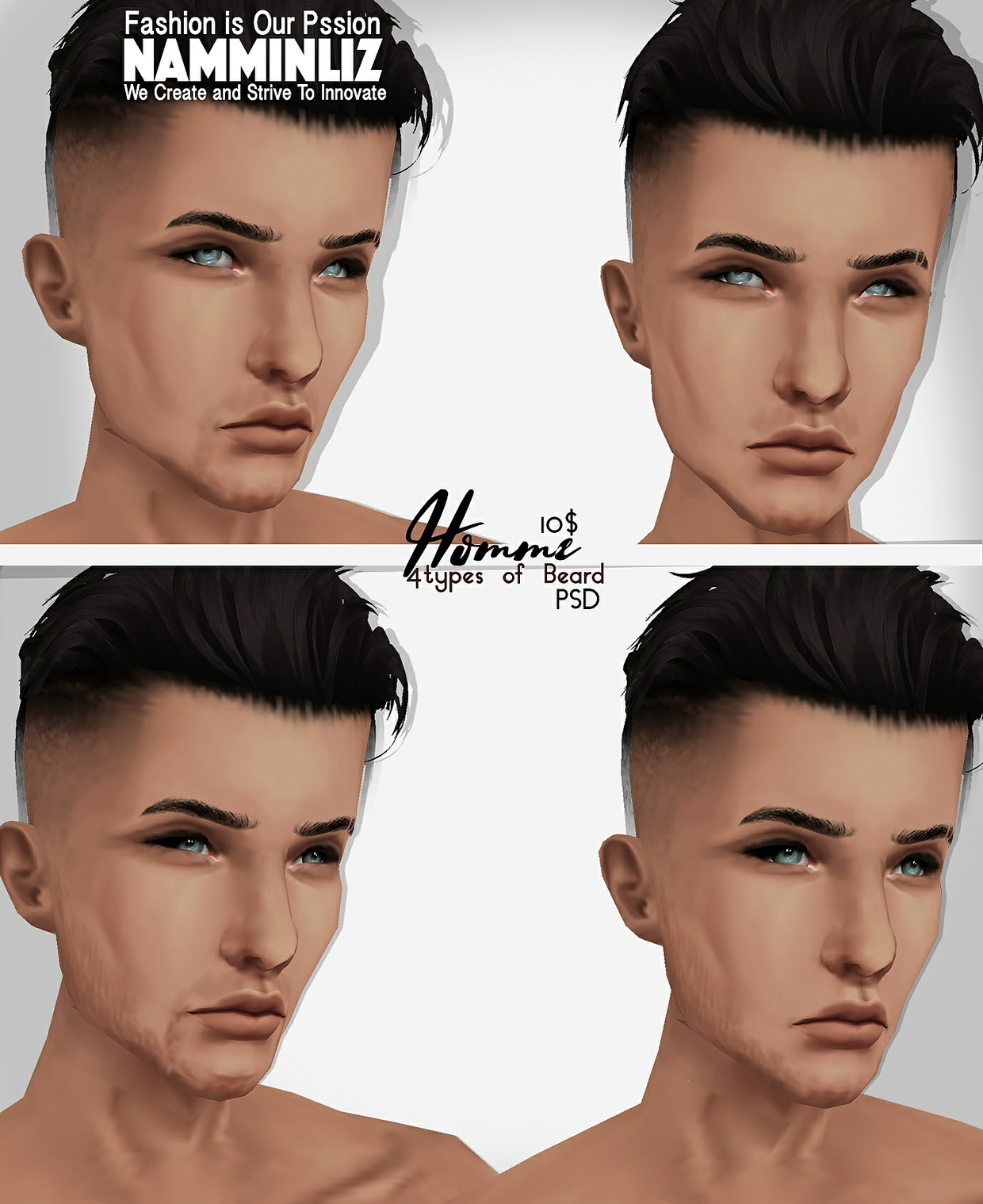 Homme 2 Skin tones PNG + 4 types of Beard PSD