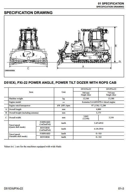 Komatsu Crawler Dozers D51EXi-22, D51PXi-22 sn:B13500 and up Workshop Service Manual