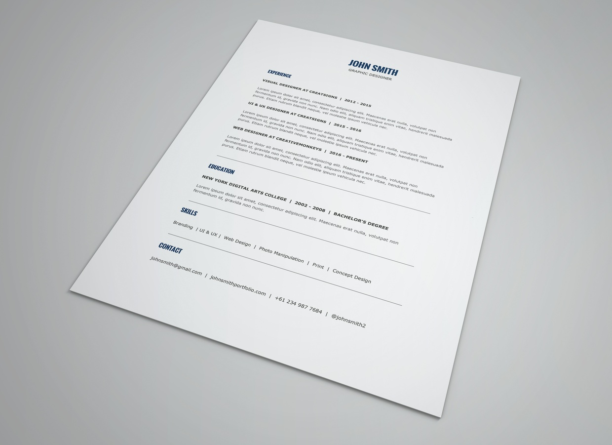 minimalist resume template cover letter template 2016 resume template ms word - Minimalist Resume Template