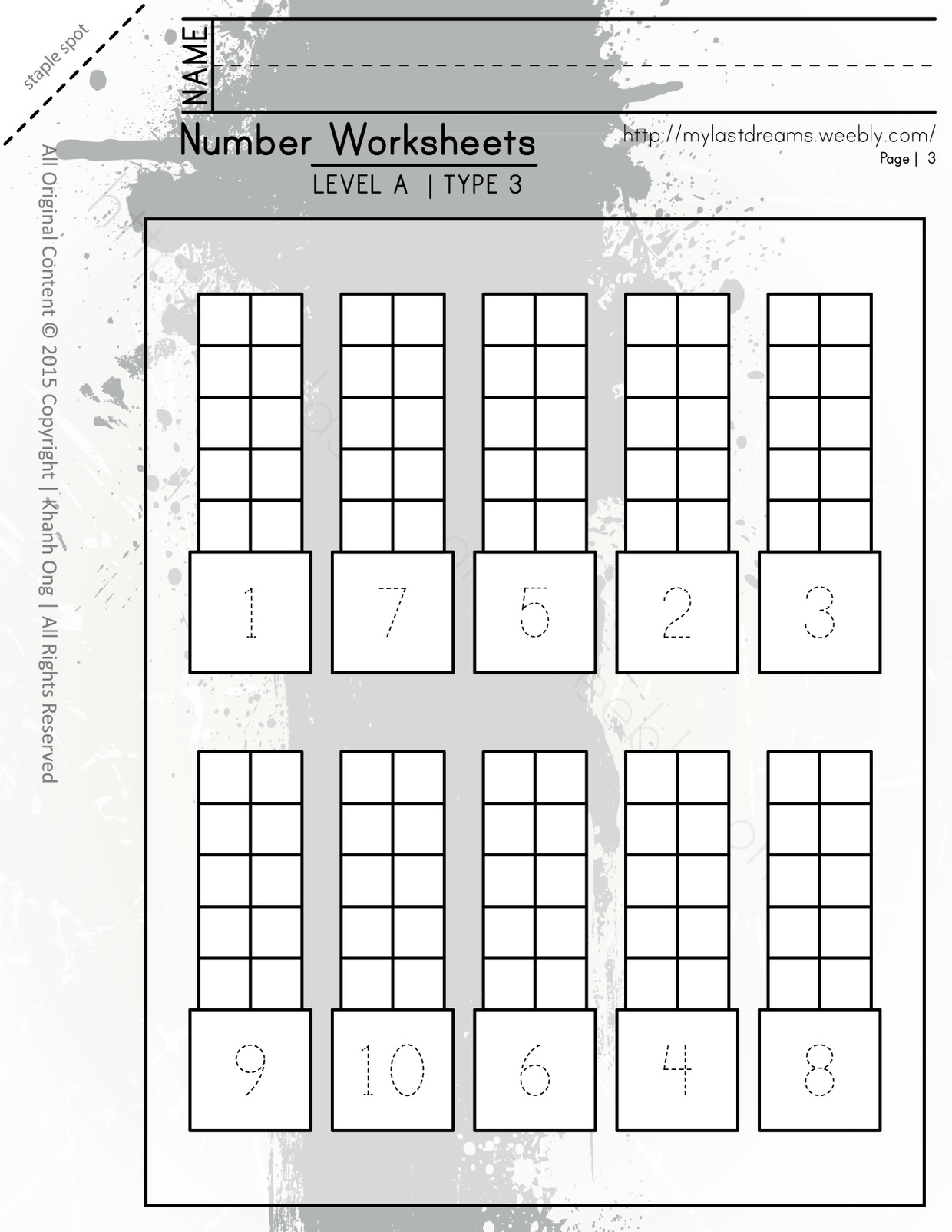 MLD - Basic Numbers Worksheets - Part 1 - Letter Sized