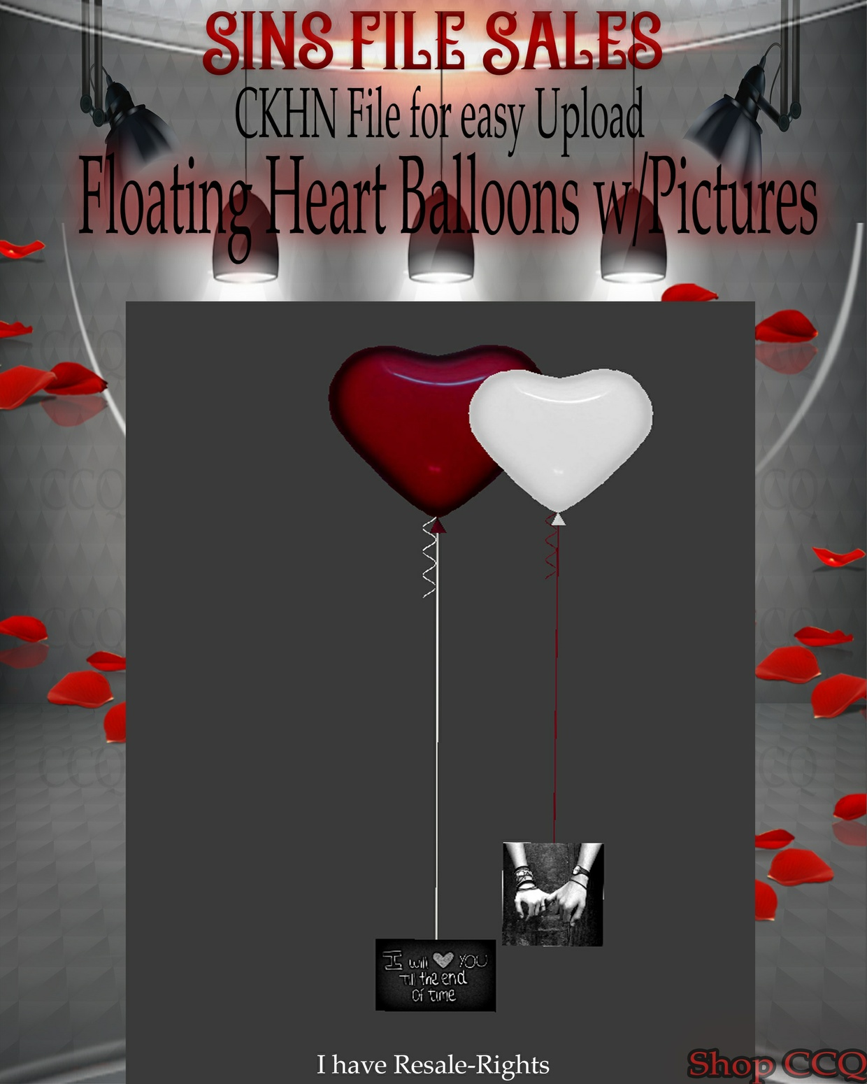♥Heart Floating Balloons w/Pictures Mesh*CHKN
