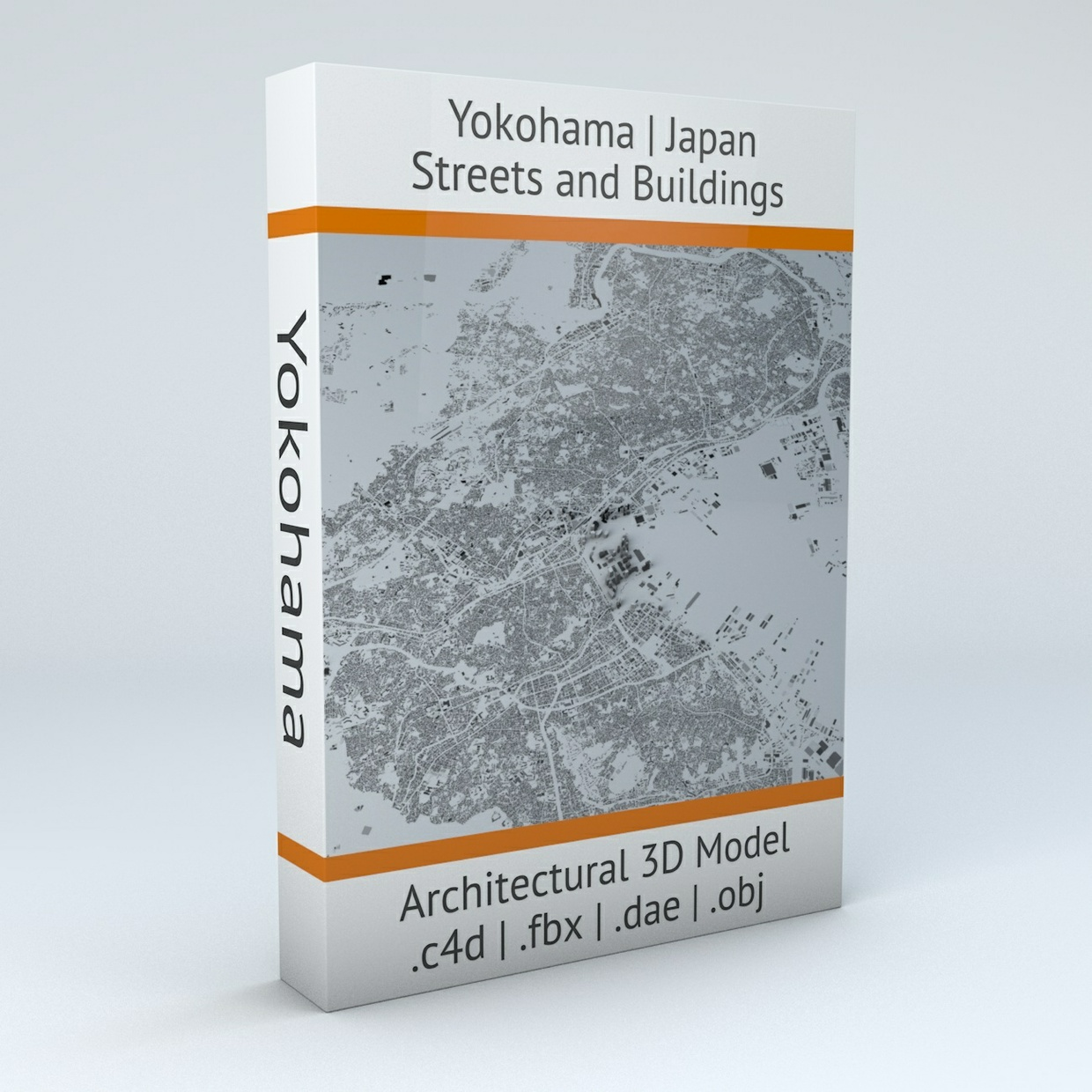 Yokohama Streets and Buildings Architectural 3D Model