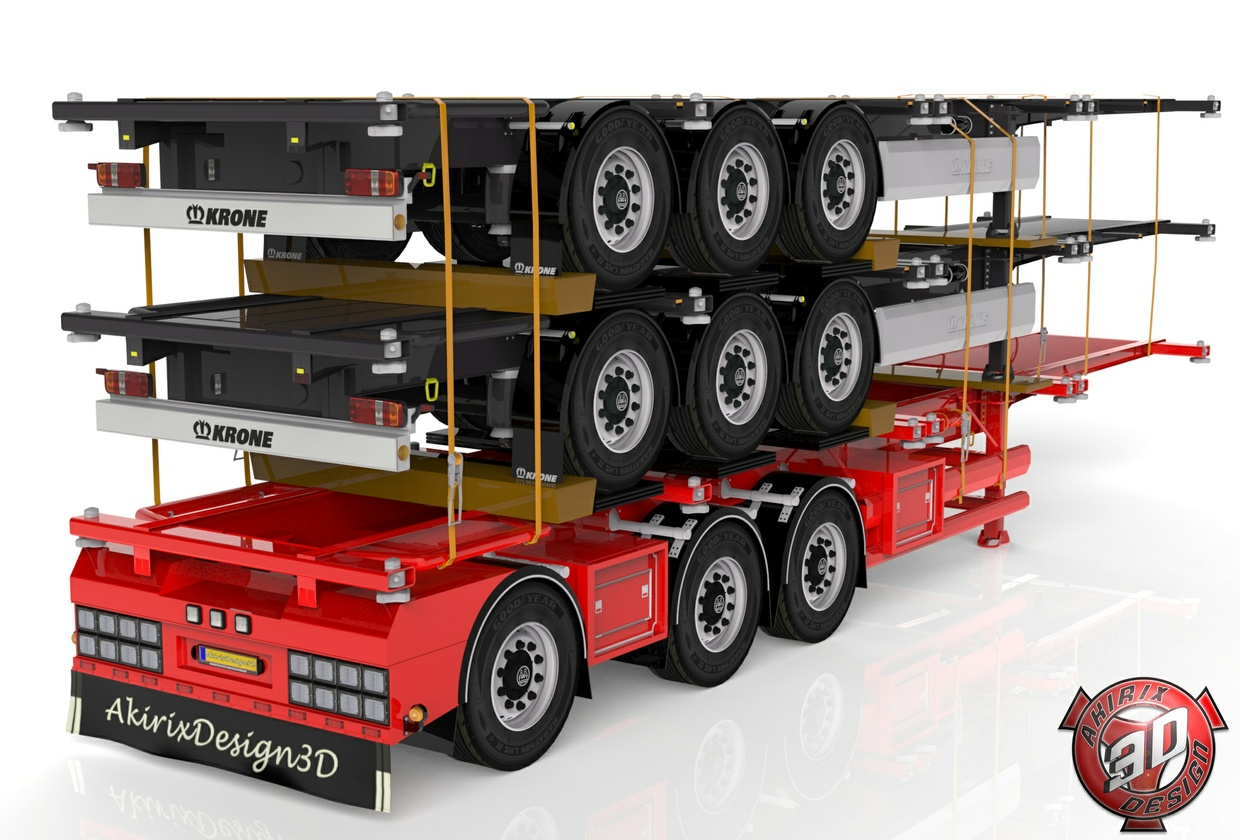3D Container Trailer With Trailers Load