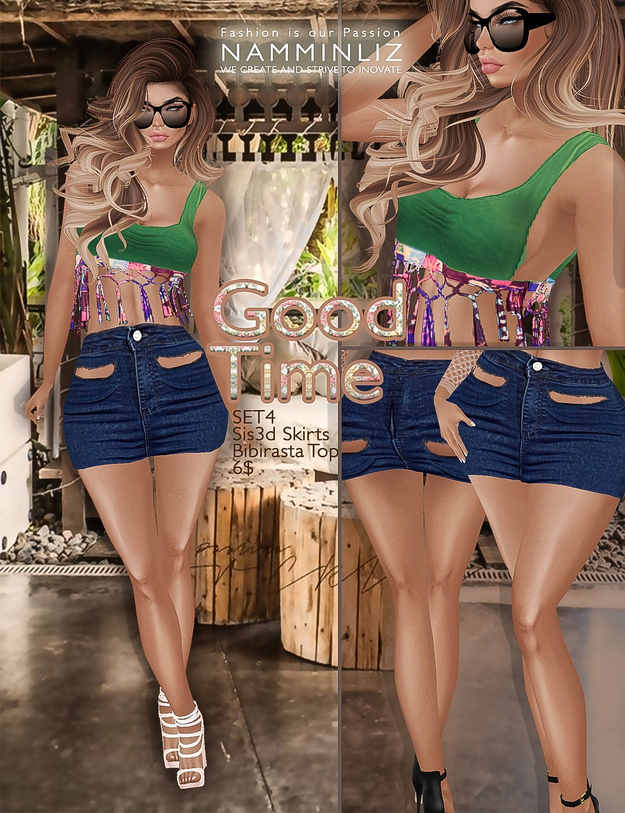 Good time Full SET •4 Sis3d skirt • 4 Bibirasta top imvu texture PNG