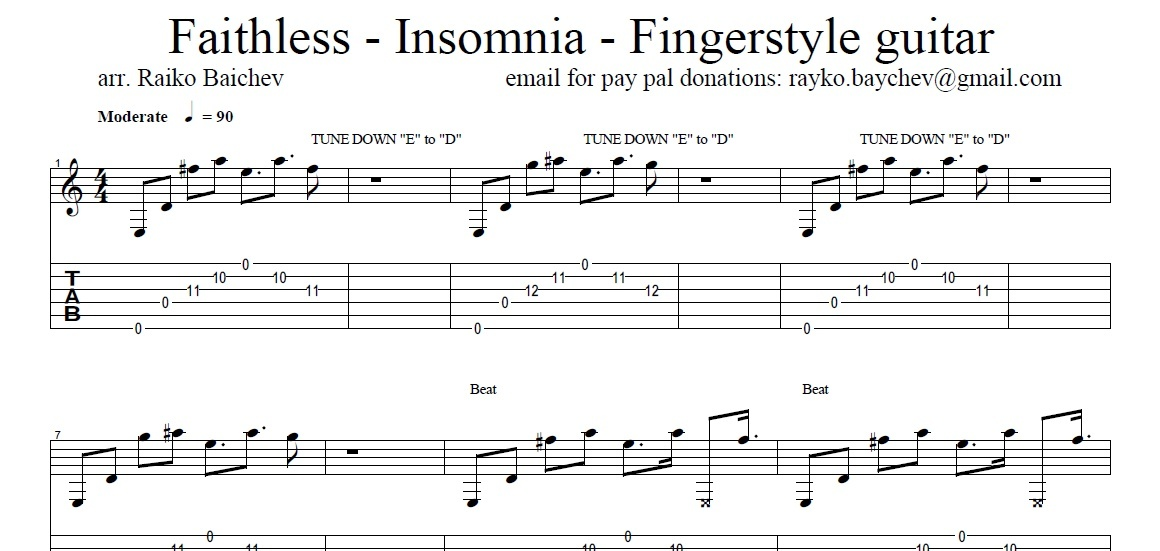 Faithless - Insomnia - Fingerstyle Guitar TAB