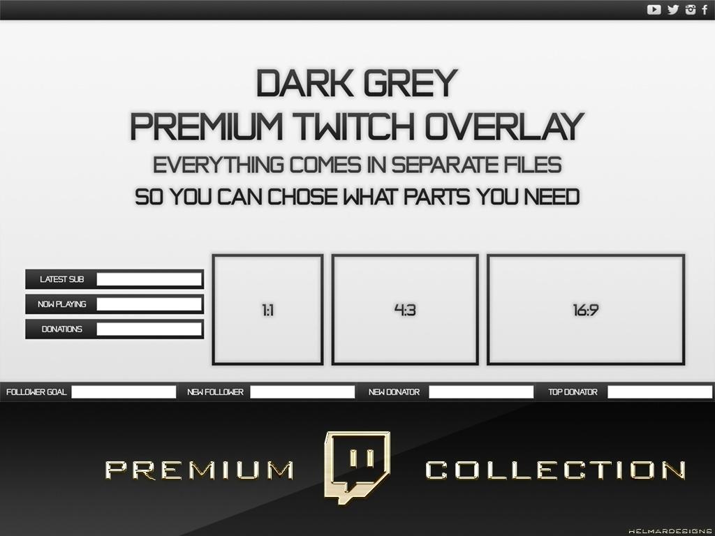 Premium Twitch Overlay Pack - Dark Grey