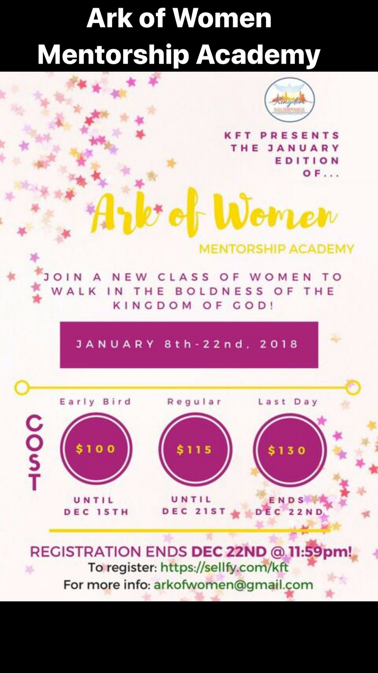 Ark of Women Mentorship Academy (NEW MEMBERS)