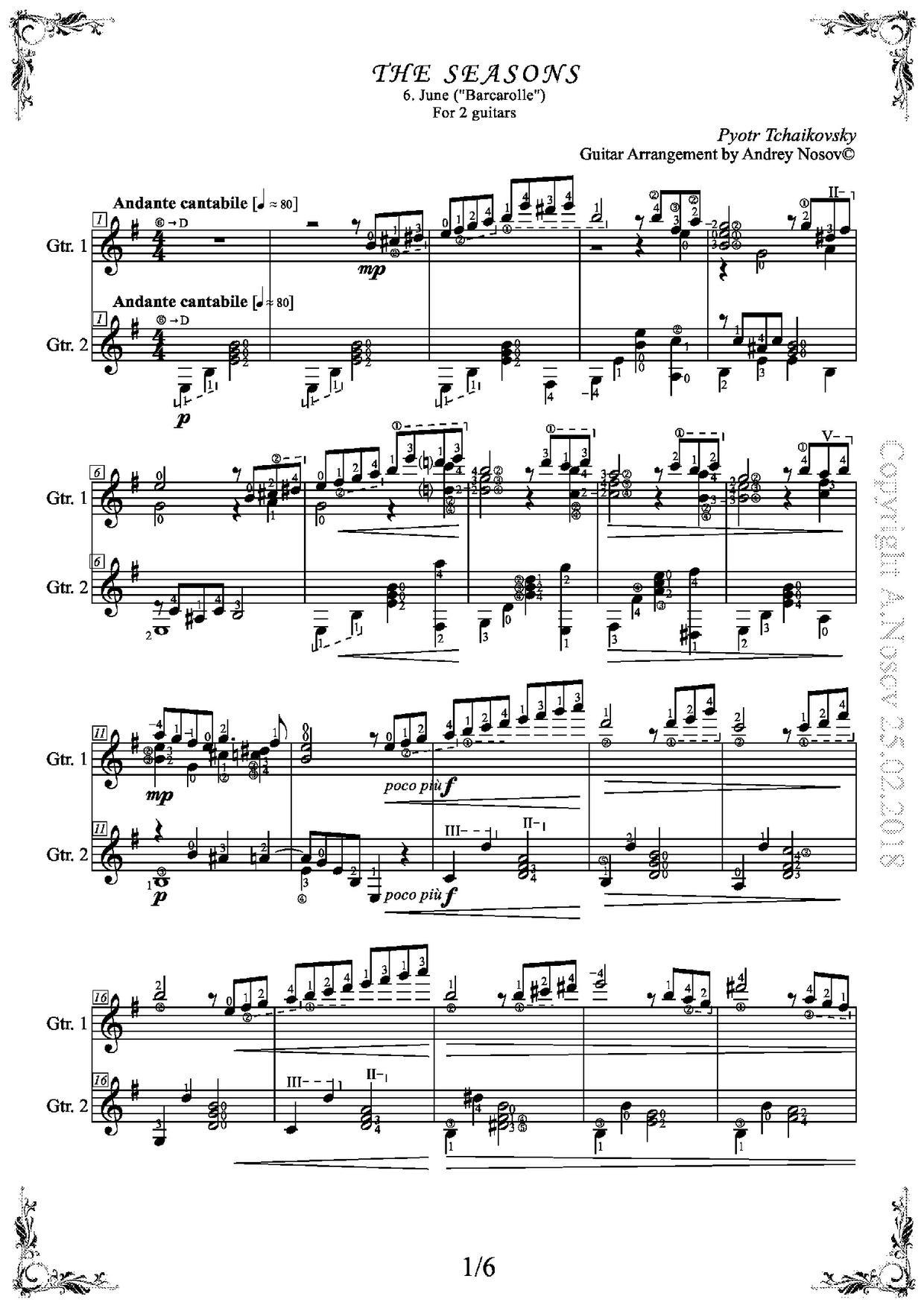 The Seasons, June (P.Tchaikovsky) Sheet Music for Guitar Duets