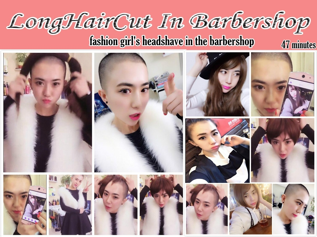 fashion girl's headshave in the barbershop