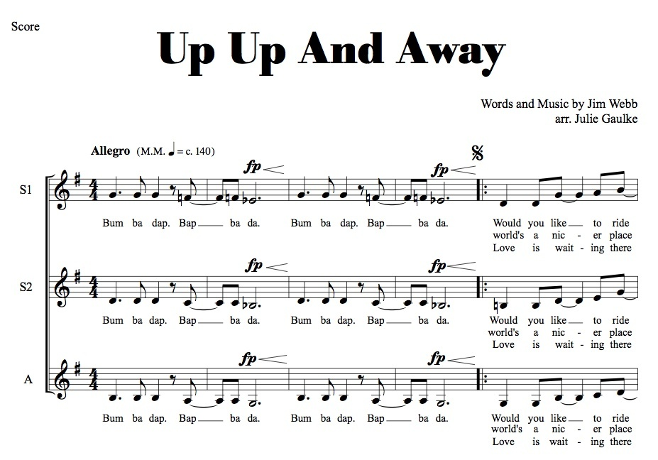 Up Up And Away MP3 Audio Learning Tracks SSA arr. Julie Gaulke
