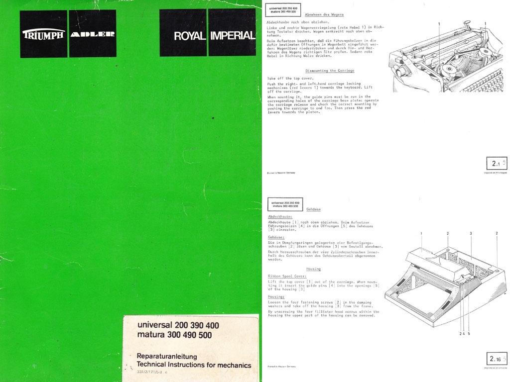 Adler T/A Universal and Matura Electric Portable Typewriter Repair Adjustment Service Manual