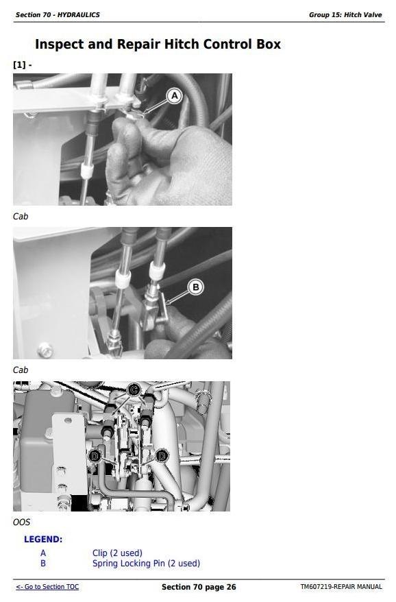 John Deere 6105D, 6115D, 6130D, 6140D (SN: 050001 - 100000) Tractors Repair Manual (TM607219)