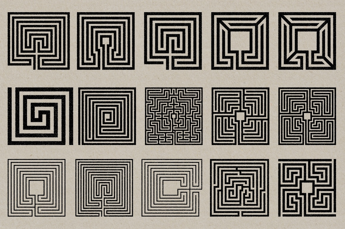 Labyrinth Stamps - Vector & PNG