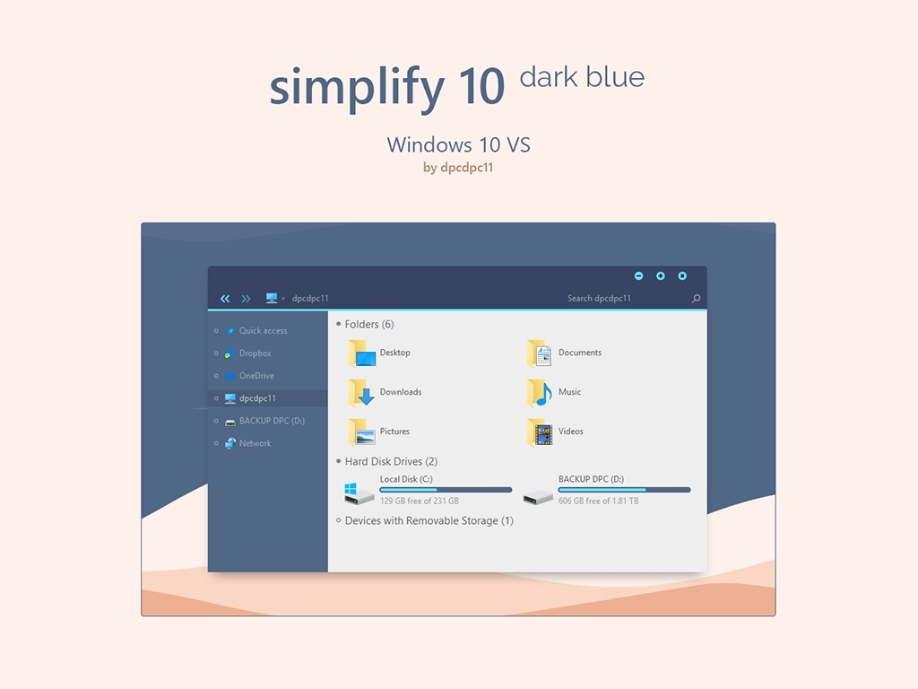 Simplify 10 Dark Blue - Windows 10 Theme
