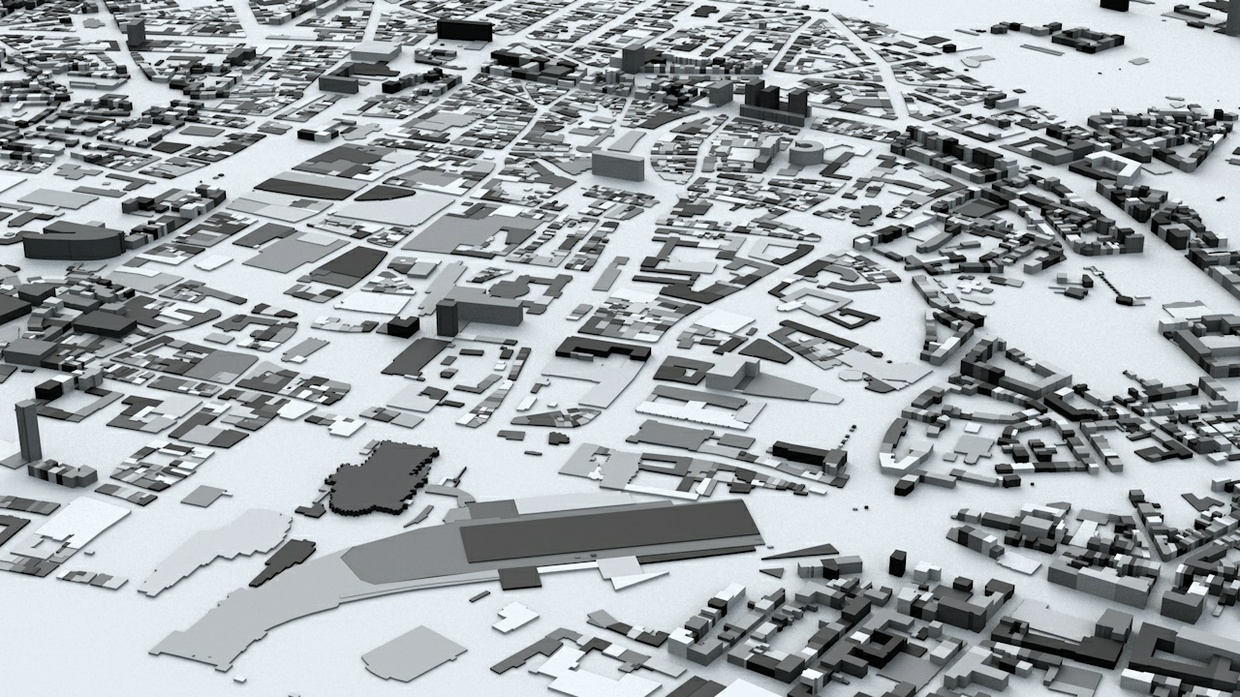 Cologne Streets and Buildings Architectural 3D Model