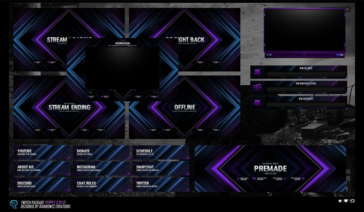 Twitch Package Purple & Blue