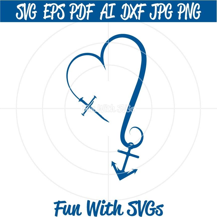 Cross Heart Anchor SVG Cut File, High Resolution Printable Graphics and Editable Vector Art