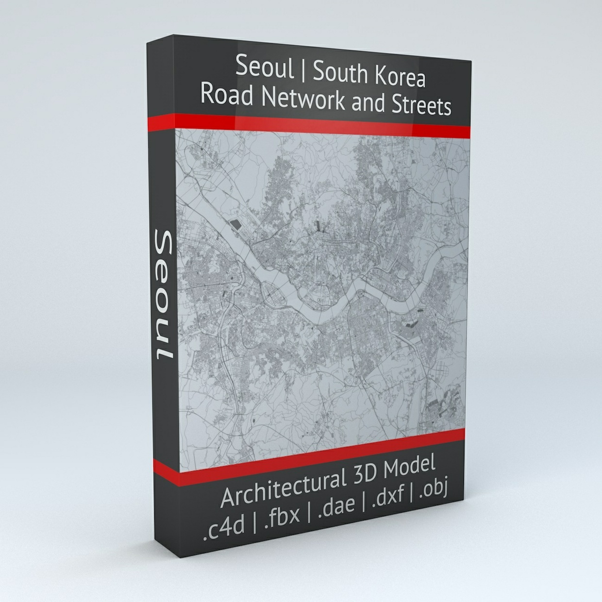 Seoul Road Network Architectural 3D Model