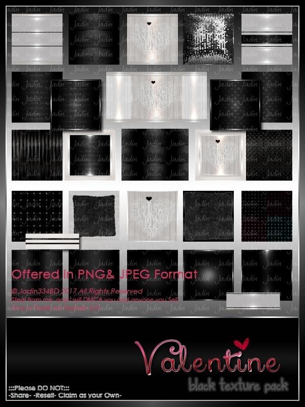 Valentine BLACK Texture Pack -- $5.00