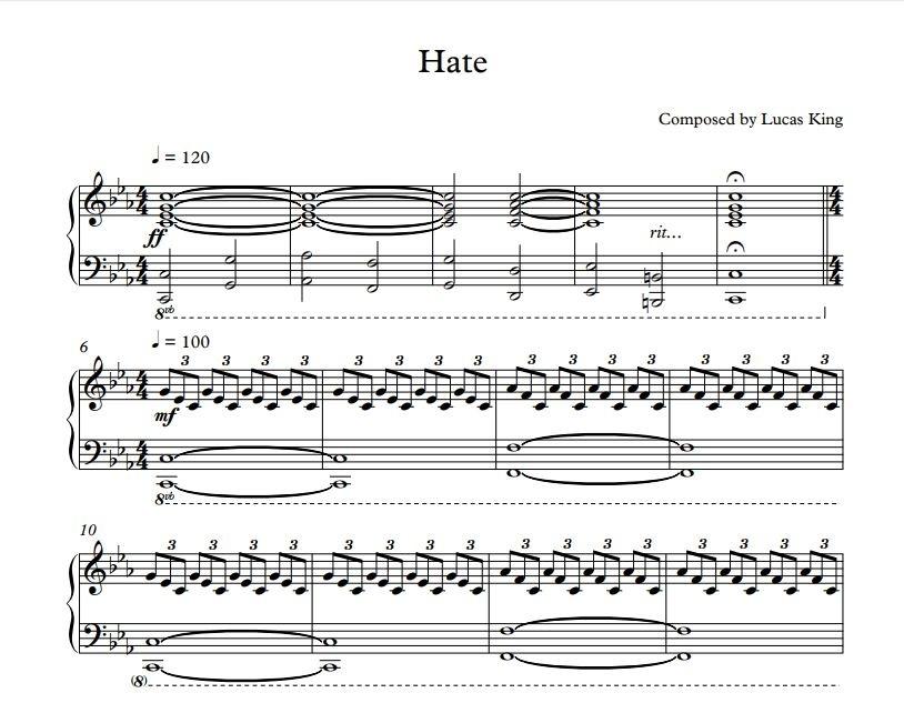Lucas King - Hate Sheet Music