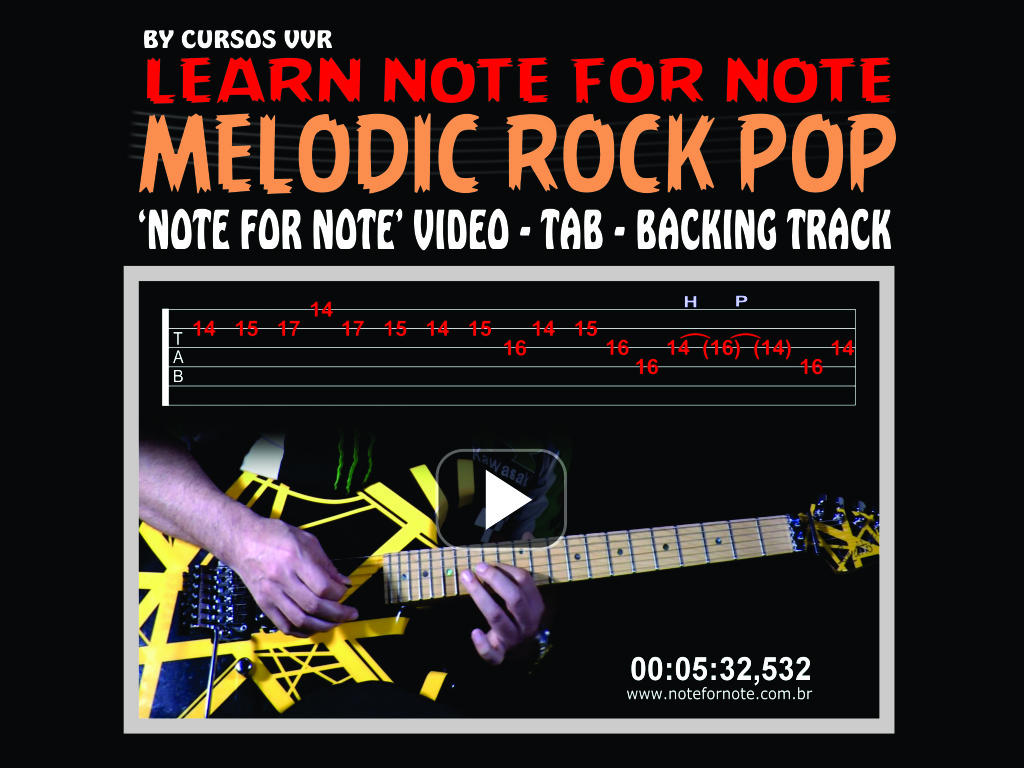 MELODIC ROCK POP SOLO WITH NOTE FOR NOTE VIDEO+TAB+BACKING TRACK