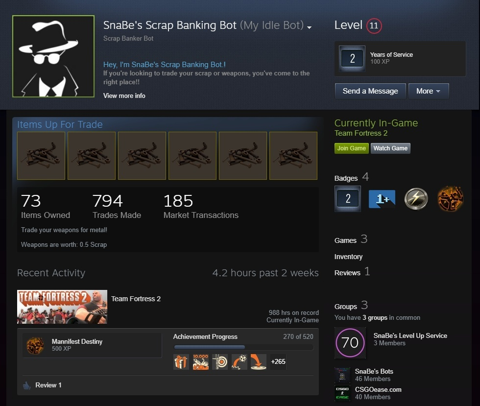 Team Fortress 2 Trade Bot: Buy and sell any TF2 item, crafting, set custom prices & more!