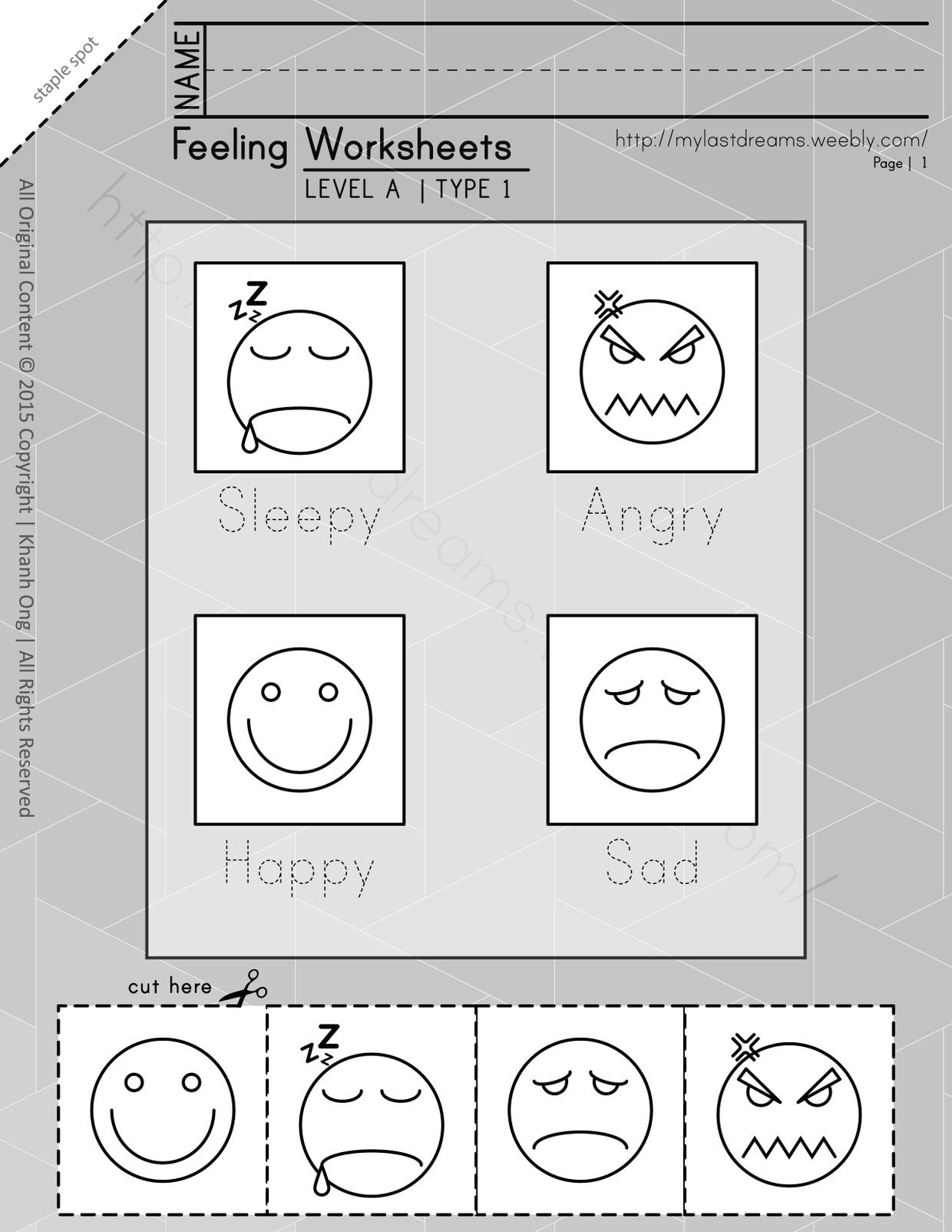 MLD - Basic Feeling Worksheets - Part 1 - Letter Sized