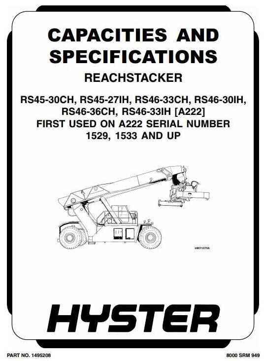 Hyster Truck Type A222: RS45-27IH, -30CH, RS46-30IH, -33CH, -33IH, -36CH Workshop Manual