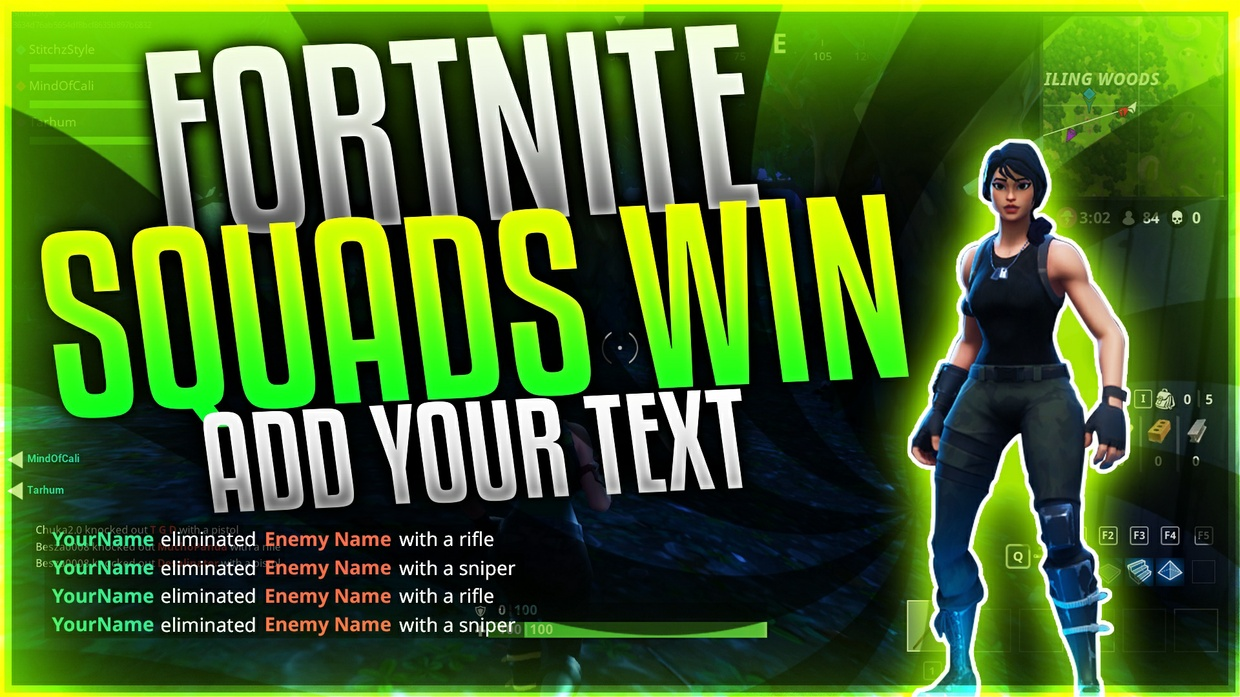 Fortnite Thumbnail Template with Customizable Killfeed